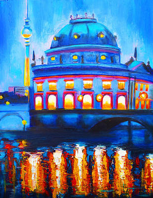 Berlin At Night Painting - The Berlin Musuem by Susi Franco