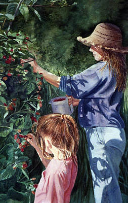 Wall Art - Painting - The Berry Pickers by Nancy Delgado