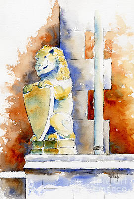 Lion Gargoyles Painting - The Bessborough Lion by Pat Katz