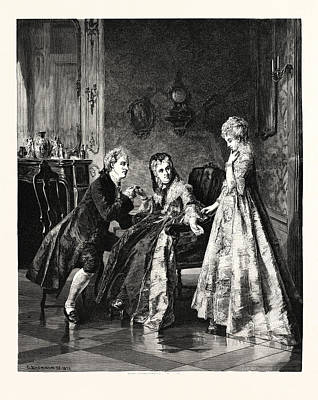 Interior Scene Drawing - The Betrothal by Erdmann, Otto (1834-1905), German