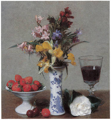 Glass Of Wine Painting - The Betrothal Still Life by Henri Fantin-Latour