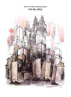 Skyscrapers Drawing - The Big Apple by Ronald Searle