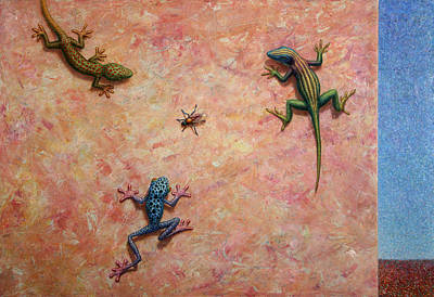 Tree Frogs Painting - The Big Fly by James W Johnson