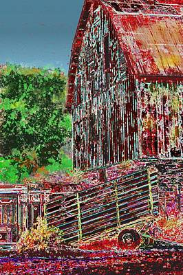 Shed Digital Art - The Big Red Barn by Candice Floyd