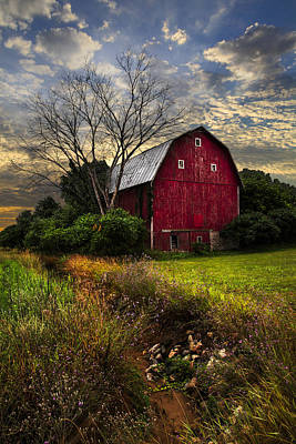Wisconsin Wildflower Photograph - The Big Red Barn by Debra and Dave Vanderlaan