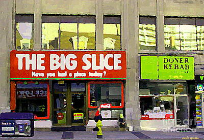 Painting - The Big Slice Pizzeria Downtown Toronto Restaurants Doner Kebob House Street Scene Painting Cspandau by Carole Spandau