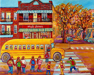 The Big Yellow School Bus Street Scene Paintings Of Montreal Art Print by Carole Spandau