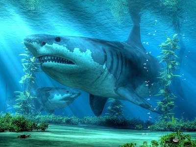 Prehistoric Digital Art - The Biggest Shark by Daniel Eskridge