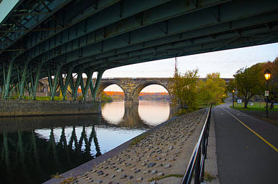 The Bike Path Along The Schuylkill River Print by Bill Cannon
