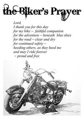 Drawing - the Biker's Prayer by Marianne NANA Betts