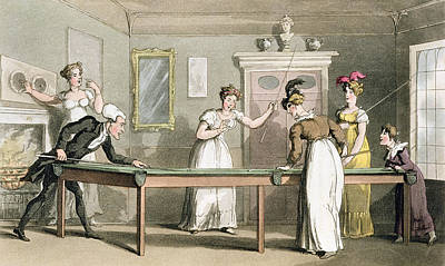 Humorous Drawing - The Billiard Table, From The Tour Of Dr by Thomas Rowlandson