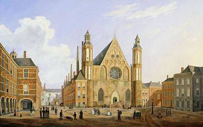 Brick Painting - The Binnenhof In The Hague With A View by Augustus Wynantz