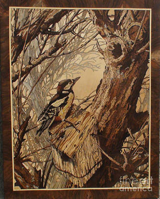 The Bird And Tree Marquetry Wood Work Art Print by Persian Art