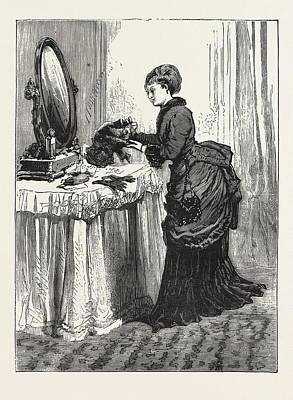 Mirror Drawing - The Bird Wearer., Woman, Fashion, Hat, Mirror, Interior by English School