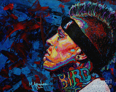 Miami Painting - The Birdman Chris Andersen by Maria Arango