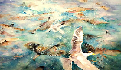 Sharks Painting - The Birds And The Sharks In Polynesia by Miki De Goodaboom