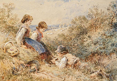 Basket Painting - The Bird's Nest by Myles Birket Foster