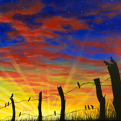 Painting - The Birds - Red Sky At Night by Jack Malloch