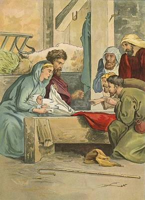 Nativity Painting - The Birth Of Christ by English School