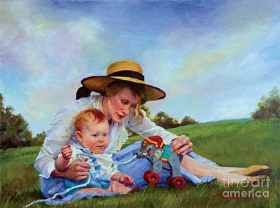 Painting - The Birthday Gift by Jean Hildebrant