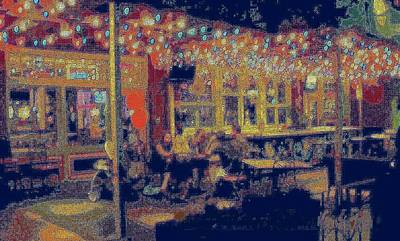 The Bistro Patio Art Print by ARTography by Pamela Smale Williams