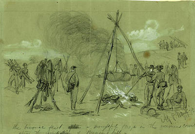 Chinese American Drawing - The Bivouac Feast After A Successful Forage In The Enemies by Quint Lox