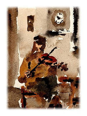 Tin Whistle Painting - The Blasket Fiddle Player by Val Byrne