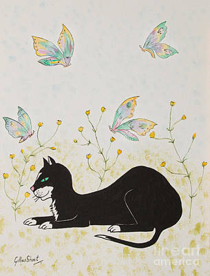 Moggy Painting - The Black Cat by Gillian Short