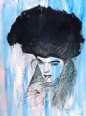 Tribute To Women Painting - The Black Hat by Roberto Prusso