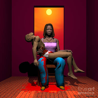 Wood Necklace Digital Art - The Black Pieta by Walter Oliver Neal