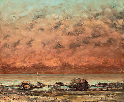 Sundown Painting - The Black Rocks At Trouville by Gustave Cobert