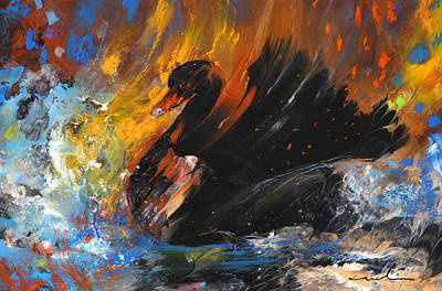 Swan Drawing - The Black Swan by Miki De Goodaboom