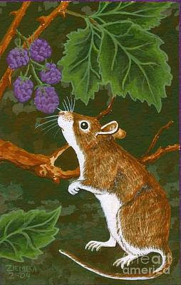 Mice Painting - The Blackberry Mouse by Lori Ziemba