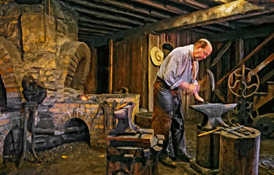 The Village Digital Art - The Blacksmith Oil by Steve Harrington
