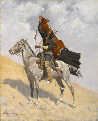 Famous Horse Art Painting - The Blanket Signal by Frederic Remington