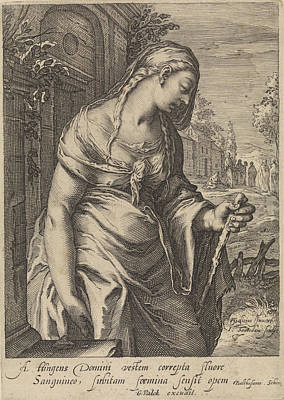 Suffering Drawing - The Bleeding Woman, Jan Saenredam, Balthasarus Schonaeus by Jan Saenredam And Balthasarus Schonaeus And Gerard Valck