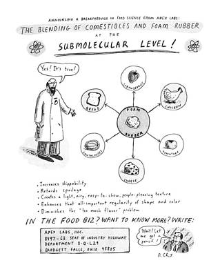 Yes Drawing - The Blending Of Comestibles And Foam Rubber by Roz Chast