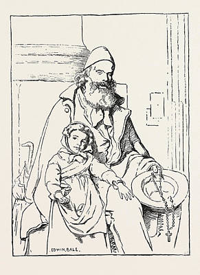 Bale Drawing - The Blind Beggar by Bale, Edwin (1838-1923), English