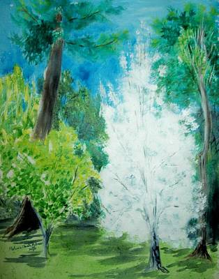 Pear Tree Painting - The Blooming Bradford Pear Tree by Melanie Palmer