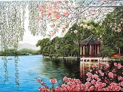Painting - The Blooming Sakura by Sergey Selivanov