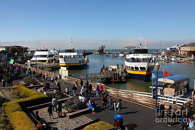 Alcatraz Photograph - The Blue And Gold Fleet Ferry Boat At Pier 39 San Francisco California 5d26040 by Wingsdomain Art and Photography
