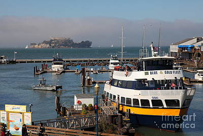 Alcatraz Photograph - The Blue And Gold Fleet Ferry Boat At Pier 39 San Francisco California 5d26043 by Wingsdomain Art and Photography