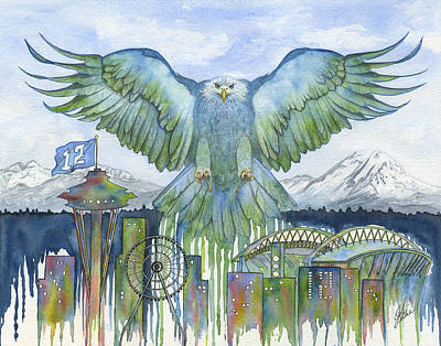 Seattle Seahawks Painting - The Blue And Green by Julie Senf