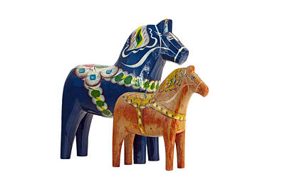 Hand Carved Photograph - The Blue And Red Dala Horse by Torbjorn Swenelius