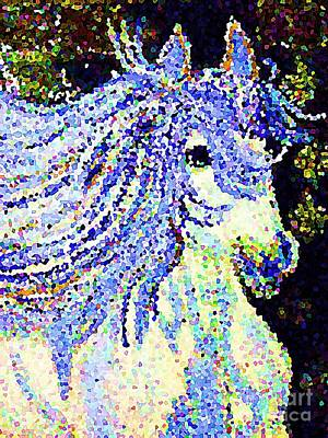Painting - The Blue And White Pony by Saundra Myles