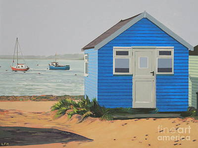 Painting - The Blue Beach Hut And Boats by Linda Monk