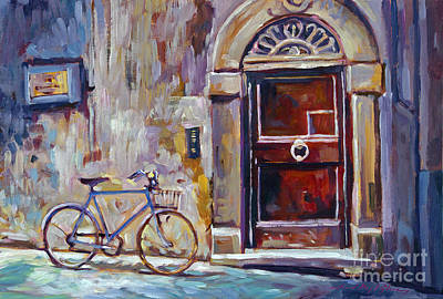 Old Wall Painting - The Blue Bicycle by David Lloyd Glover