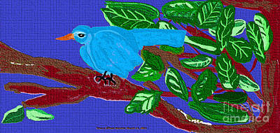 The Blue Bird Art Print by Sherry  Hatcher
