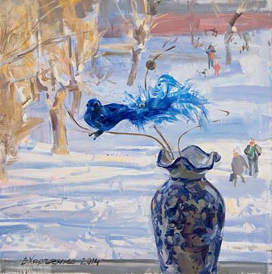 The Blue Bird Art Print by Victoria Kharchenko