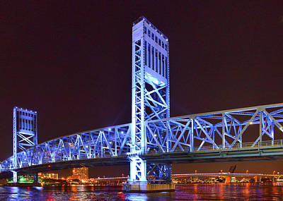 Riverwalk Photograph - The Blue Bridge - Main Street Bridge Jacksonville by Christine Till